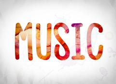 Music Concept Watercolor Word Art Stock Illustration