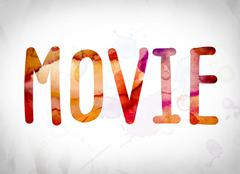 Movie Concept Watercolor Word Art Piirros