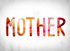 Mother Concept Watercolor Word Art Stock Illustration