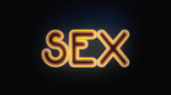 Neon text on off sex flat Stock Footage