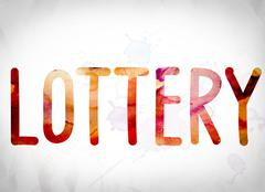 Lottery Concept Watercolor Word Art Piirros