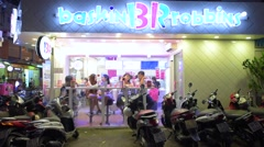 A view at the facade of a Baskin-Robbins Stock Footage