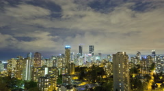 Time lapse illuminated dusk night Skyline view of City buildings apartments and Stock Footage