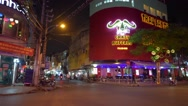 View of Nightlife with bars and pubs at De Tham and Bui Vien streets crossroad Stock Footage