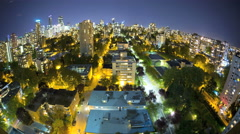 Time lapse Fish Eye illuminated night Skyline view of City buildings apartments Stock Footage