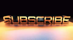 4K Subscribe animation outro, shiny metallic look Stock Footage