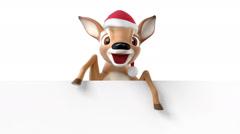 Cartoon deer in a hat of Santa Claus Stock Footage