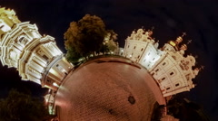 Little Tiny Planet 360 Degree Kiev-Pechersk Lavra at Night Illuminated Stock Footage