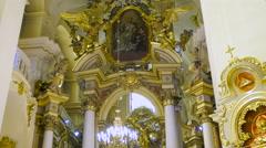 Church saintly Jurij Lviv renesans inside icons Stock Footage