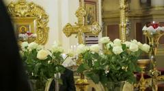 Church saintly Jurij Lviv renesans crucifix Stock Footage