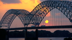 Sunset view of the Hernando DeSoto Bridge Southern Tennessee on Interstate 40 Stock Footage