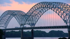 Sunset view of the New Bridge a Multi lane Highway in Southern Tennessee on Stock Footage