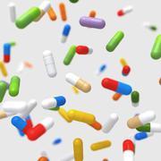 Falling colorful pills - 3D illustration Stock Illustration
