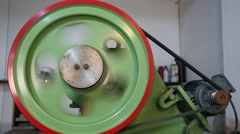 Industrial belt wheel machine Stock Footage