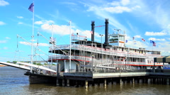 New Orleans, USA - September 2016: View of New Orleans Paddle Steamer a River Stock Footage
