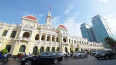 Traffic in front of the City Hall in Ho Chi Minh City (Saigon), Vietnam Stock Footage
