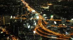 4kTime-lapse : Bangkok Expressway Highway bird eye view at dusk, Thailand Stock Footage