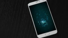 Video of smartphone with chip finger print Stock Footage