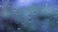 View of raindrops falling on a window Stock Footage