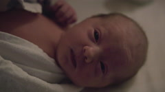 Groggy Newborn Baby Adjusting to New World on First Night in Hospital Stock Footage