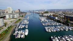 Aerial Tacoma Washington Downtown Waterway Stock Footage