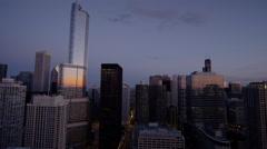 Chicago, USA - September 2016: Trump Tower at sunset City Metropolitan Stock Footage