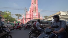 Tan Dinh Catholic Church in Hai Ba Trung street in Ho Chi Minh City, Vietnam Stock Footage