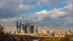 Moscow city skyline in autumn. Modern skyscrapers and old buildings time lapse Stock Footage