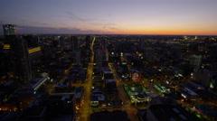Chicago, USA - September 2016: Metropolitan sunset Skyscrapers illuminated Stock Footage