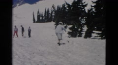 1958: snowy area is seen with kids WYOMING Stock Footage