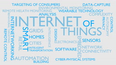 Internet of things word tag cloud - white, English variant Stock Footage