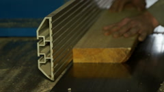 Woodworking process close op shot. Stock Footage