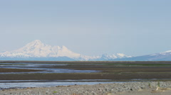 Mt Redoubt coastal volcano across Cook Inlet National Park Reserve Kenai Stock Footage