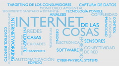 Internet of things word tag cloud - white, Spanish variant Stock Footage