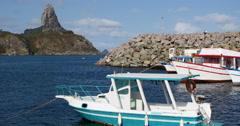 Boats Moored On Harbor, Fernando de Noronha, Brazil. Stock Footage