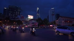 View of Nightlife with bars and pubs at Pham Ngu Lao street Stock Footage