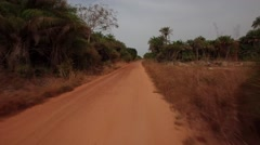 Driving jeep in jungle road Africa - Guinea Bisseau Stock Footage
