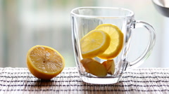Tea with ginger and lemon. Stock Footage