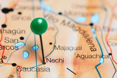Nechi pinned on a map of Colombia Stock Photos