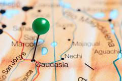 Caucasia pinned on a map of Colombia Stock Photos