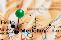 Medellin pinned on a map of Colombia Stock Photos