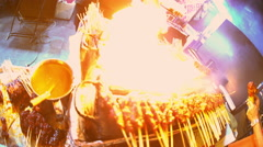 Traditional Asian chicken kebab street food cooking outdoor on a coal barbecue Stock Footage