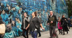 People Walk Past Street Art in Manhattan New York City 4K Stock Footage