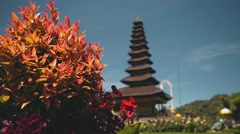 Ulun Danu temple on Lake Beratan, Bali, slide Stock Footage
