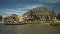 Ulun Danu temple on Lake Beratan, Bali, still Stock Footage