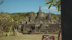 Mini Borobudur - miniature in Brahma Vihara Arama Buddhist Monastery, slide Stock Footage