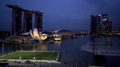 Singapore - September 2016: Night Waterfront illuminated view of Marina Bay Stock Footage