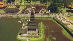 Aerial view of Ulun Danu temple on Lake Beratan, Bali, circle around Stock Footage