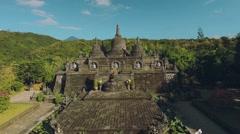 Aerial view of Mini Borobudur - miniature in Brahma Vihara Arama Monastery Stock Footage