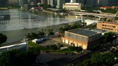 Singapore - September 2016: Sunrise Waterfront view of Marina Bay Fullerton Stock Footage